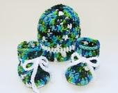 Baby boy hat blue booties set crochet blue green white newborn photo prop 0-3 months ready to ship