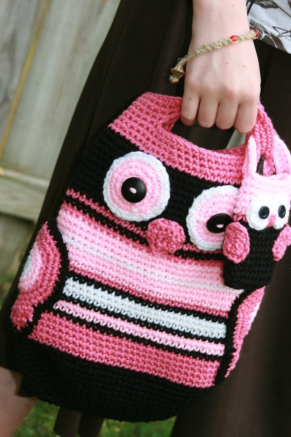 Owl tote crochet in black, white, mauve and pink with wings for pockets and button eyes Custom order Mothers Day gift Graduation