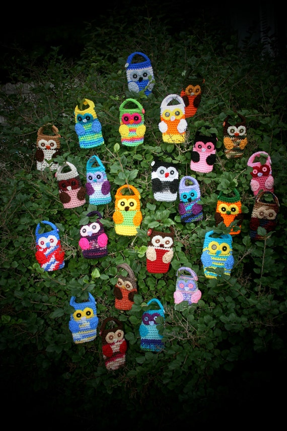 Owl Cell phone camera crochet holder case cozy cover Custom You choose the colors
