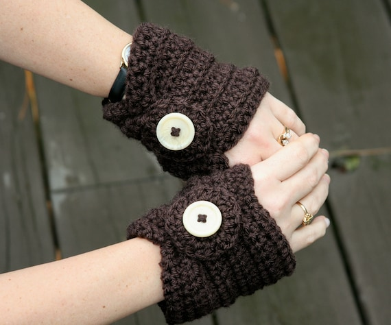 Fingerless gloves short hand warmers crochet in chocolate brown with beautiful beige buttons