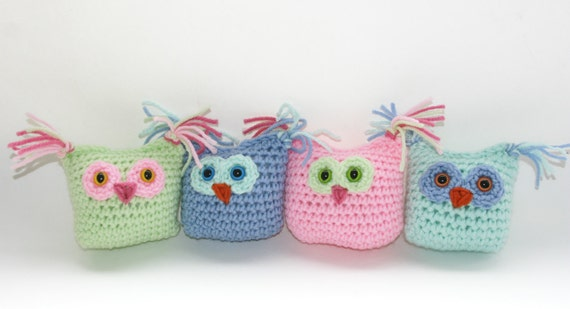 Owl babies set of 4 decor or toys,crochet pink blue and green pick your own colors