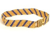 blue and gold peyote bracelet