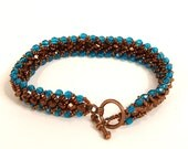 bronze and turquois chevron bracelet