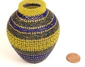 blue and yellow small beaded vase