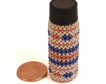tiny beaded pill bottle pink and blue