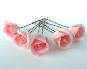 5 pink rose hair pins - bridal or bridesmaid hair accessories or alternative tiara uniquely hand sculpted