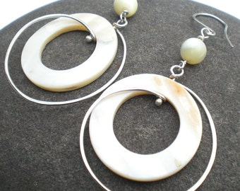 Kendra - bold mother-of-pearl hoops