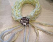 Finger Knitted Adjustable Bracelet 'Lemon Mint Pie' w/ English Rose Button