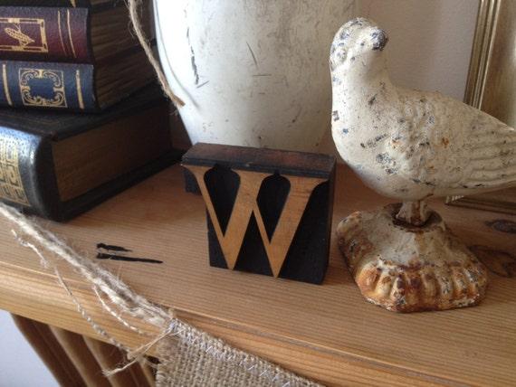 Rare 100 Year Old 'W' British Antique Wood Type