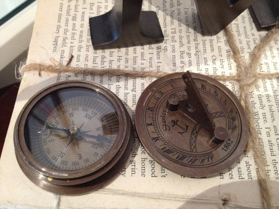 Antique British 1862 Stanley London Compass & Sun Dial w/ Wooden Case