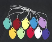 Gift Hang Tags - Christmas Lights Rainbow Cardstock Die Cut Tags with String (25) Favor Tags
