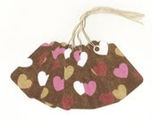 Glittered Candy Hearts on Chocolate Large Scallop Top Die Cut Gift Hang Tags with String (6)