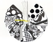 Black and White Scallop Die Cut Hang Tags (22) Wedding Favor Tags