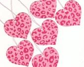 Pink Cheetah Wild Hearts Large Die Cut Gift Hang Tags (6) (h5)