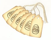 Happy Easter Egg Vintage Look Hand Stamped Large Scallop Die Cut Hang Tags (Set of 6) Favor Tags
