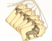 King of the Jungle Hand Stamped Large Scallop Die Cut Hang Tags (Set of 6) Favor Tags