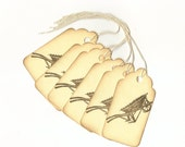 Wheel Barrel Hand Stamped Large Scallop Die Cut Hang Tags (Set of 6) Favor Tags