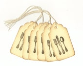 Flat Ware Hand Stamped Large Scallop Die Cut Hang Tags (Set of 6) Favor Tags