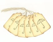Umbrella Hand Stamped Large Scallop Die Cut Hang Tags (Set of 6) Favor Tags