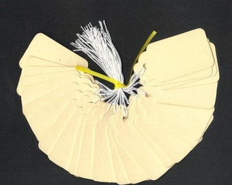 DIY Gift Hang Tags - Cream Scallop Die Cut Tags with String (25) Favor Tags Escort Cards