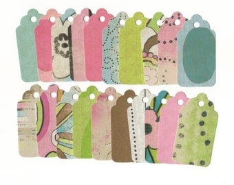 GIFT HANG TAGS - Pink Armadillo Collection Scallop Die Cut Tags (20) Favor Tags / Ready To Ship