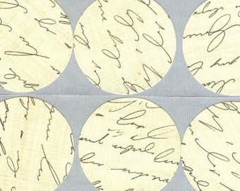 Black and Cream Script Envelope Seals Stickers (12) 1.5 Inch