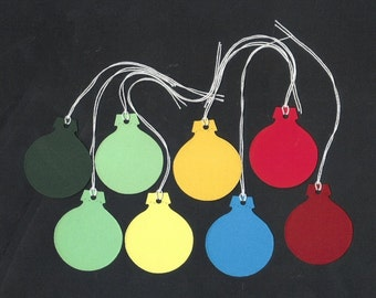 Favor Tags / Christmas Ornament Rainbow Cardstock Die Cut Hang Tags with String (25)