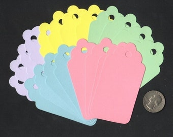 Pastel Colored Large Scallop Die Cut Gift Hang Tags (20) Scrapbooking