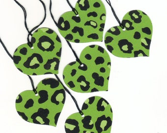 CLEARANCE / Green and Black Cheetah Print Large Die Cut Heart Gift Hang Tags (6) (h1)