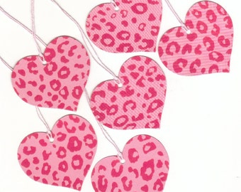 Pink Cheetah Wild Hearts Large Die Cut Gift Hang Tags (6) (h5)