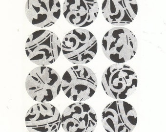 Silver Wedding Flourish Envelope Seals Stickers (12) One Inch