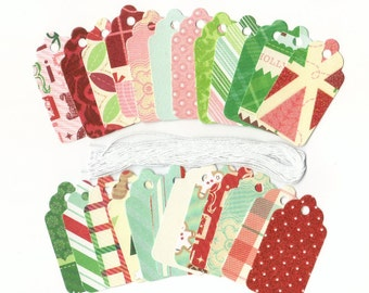Tis The Season Glittered Christmas Scallop Die Cut Gift Hang Tags (24) Favor Tags