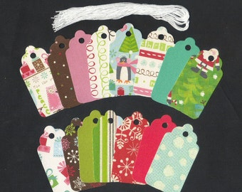 Gift Hang Tags - Happy Hootin Holidays Christmas Scallop Die Cut Tags (15) Wedding Mini Wish Tree Tags