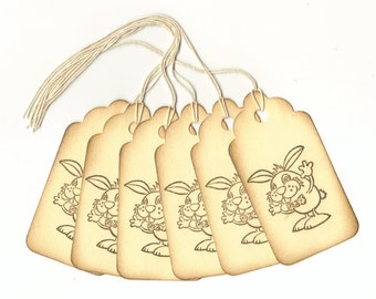 Funny Bunny Vintage Look Hand Stamped Large Scallop Die Cut Hang Tags (Set of 6) Favor Tags