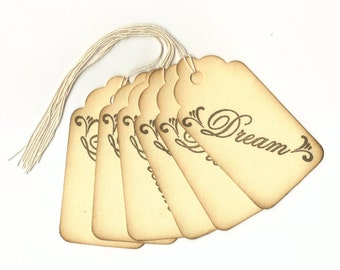 Dream Hand Stamped Large Scallop Die Cut Hang Tags (Set of 6) Favor Tags