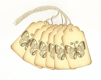 Butterfly Hand Stamped Large Scallop Die Cut Hang Tags (Set of 6) Wish Tree Tags