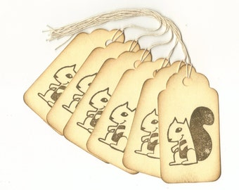Squirrel Hand Stamped Large Scallop Die Cut Hang Tags (Set of 6) Favor Tags
