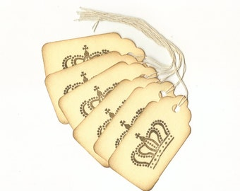 Crown I Hand Stamped Large Scallop Die Cut Hang Tags (Set of 6) Favor Tags