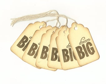 Dream Big Hand Stamped Large Scallop Die Cut Hang Tags (Set of 6) Wish Tree Tags