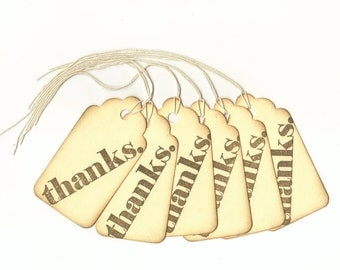 Thanks Hand Stamped Large Scallop Die Cut Hang Tags (Set of 6) Wish Tree Tags