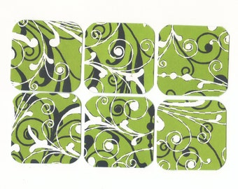 SALE - Black and White Flourishes on Green Mini Note Cards / Set of 15 / MN87 / Gift Tags / Ready To Ship