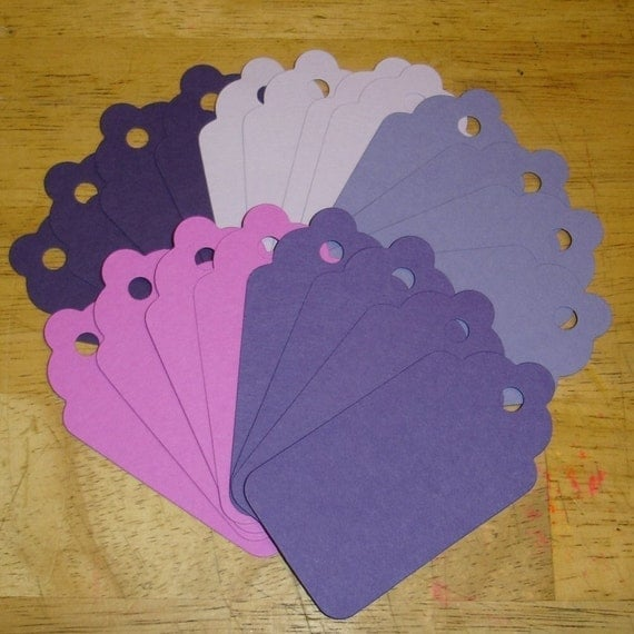 GIFT HANG TAGS - Purple Passion Large Scallop Die Cut Tags (20) Scrapbooking Card Making