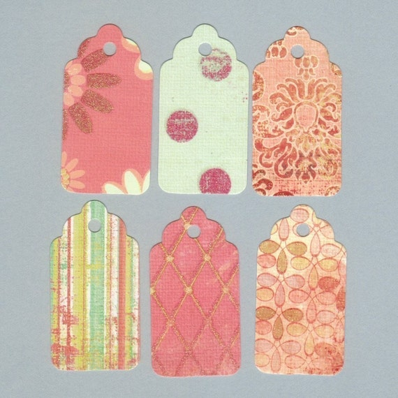 One Dollar GIFT HANG Tags - Glittered Mixed Set II Scallop Die Cut Hang Tags with String (24)