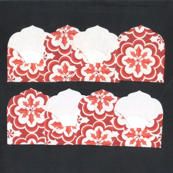 CLEARANCE SALE 50 Off - Flowers in Red Mini Elegant Envelopes Inserts and Envelope Seals (8) Priced as Marked