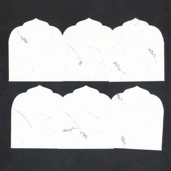 Polka Dots and Flowers Mini Elegant Envelopes Inserts and Envelope Seals (6)