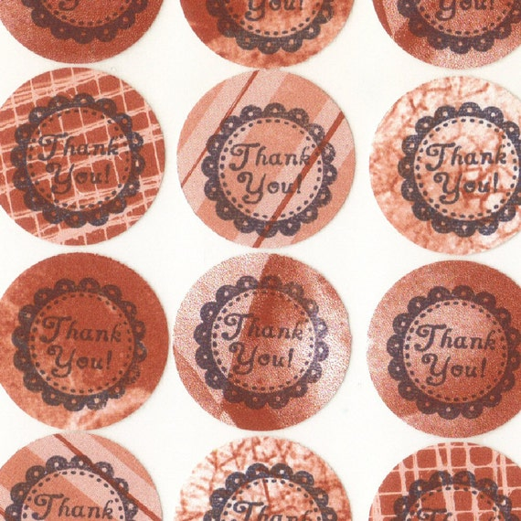 Burnt Orange Thank You Envelope Seals Stickers in Assorted Patterns (24) Package Decor