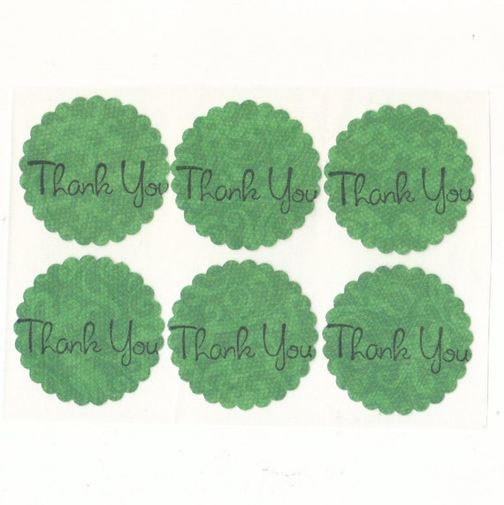 Dark Green Ornate Scallop Thank You Envelope Seals Stickers (28)