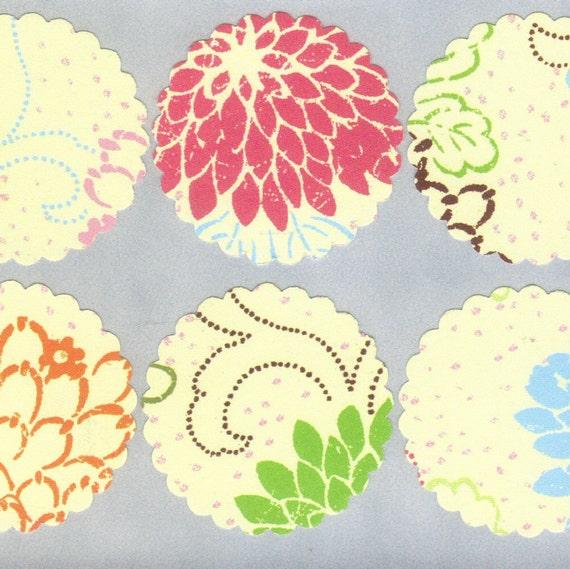 Vintage Floral Scallop Envelope Seals Stickers (30) 1.5 inch