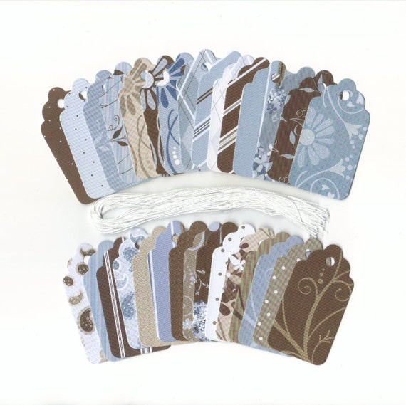 ONE DOLLAR Gift Hang Tags - Earthtones I Collection Scallop Tags (Set of 30)