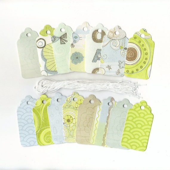 ONE DOLLAR SALE Up Up and Away Baby Boy Collection Scallop Die Cut Hang Tags (15) Double Sided